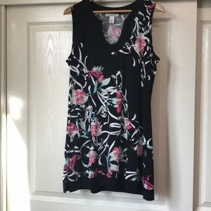 WHBM New Black Floral Tunic Top size XL NWOT